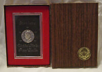1972 S EISENHOWER IKE PROOF UNC 40 SILVER DOLLAR W/BROWN BOX CLOUDY SURFACE