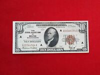 FR 1860A  1929 SERIES $10 TEN DOLLAR BOSTON FEDERAL RESERVE BANK NOTE  XF