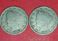 1903 AND 1905 LIBERTY NICKELS  ID 11-20,35