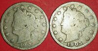 TWO 1905 LIBERTY NICKELS   ID 6-36,37
