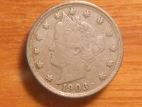 1903  LIBERTY NICKELS, VF CONDITION,  4866