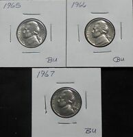 1965 AU 1966 AU 1967 AU & 1968S AU JEFFERSON NICKEL 6J39O 1   3