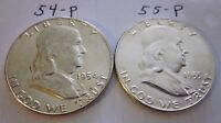 1954   P AND 1955   P BENJAMIN FRANKLIN SILVER HALVES UNCERTIFIED UNCIRCULATED