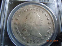 1795 FLOWING HAIR SILVER DOLLAR  PCGS AU55 2 LEAVES SPECTACULAR COIN & DETAILS