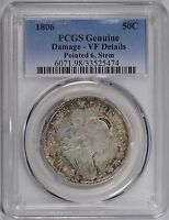 1806 50C POINTED 6 STEM DRAPED BUST HALF DOLLAR PCGS VF DETAILS 150173