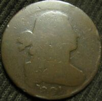 1801 DRAPED BUST CENT. THREE ERROR REV.  S 219. NICE COIN WITH CLEAR ERRORS