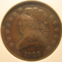 1829 VF20 CLASSIC HEAD HALF CENT IN OLD ANACS HOLDER