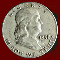 1958 D FRANKLIN 90 SILVER HALF DOLLAR SHIPS FREE. BUY 5 FOR $2 OFF
