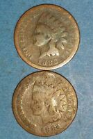 SET OF 1883 AND 1884 INDIAN HEAD CENTS  ID 52 1,8