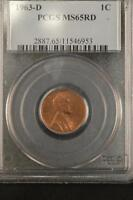 1963 D SMALL DATE LINCOLN MEMORIAL CENT 1963 D MS65RD