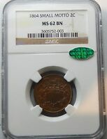1864 SMALL MOTTO TWO CENT PIECE - NGC/CAC CERTIFIED MINT STATE 62 BN