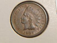1907 INDIAN HEAD CENT PENNY AU CONDITION SKU 8331
