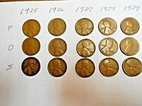 1925 PDS,1926 PDS,1927 PDS,1928 PDS,1929 PDS LINCOLN WHEAT CENT SET