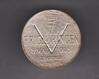 1970 NORWAY  25 KRONER SILVER COIN FRIGJRINGEN   25TH ANNIV. OF END OF WWII