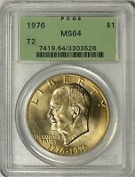 1976 TYPE 2 EISENHOWER DOLLAR PCGS MS64   OLD GREEN LABEL HOLDER