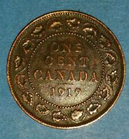 1919 EXTRA FINE  LARGE CANADIAN PENNY ID 45-28