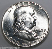 1963 D FRANKLIN SILVER HALF DOLLAR  BRILLIANT WHITE COIN WITH GREAT BELL LINES