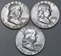 SET OF 3 1963 D BEN FRANKLIN HALF DOLLARS     NICE OLD COINS IN GOOD CONDITION