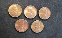 LOT OF 5 1950S LINCOLN WHEAT CENTS PENNIES 1953-D, 1954, 1958