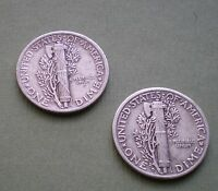 1941 & 1945 D LOT OF TWO NICE  MERCURY DIMES SILVER