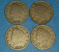 LOT OF LIBERTY NICKELS 1903,08,09.11  ID 11 16,62,77,89