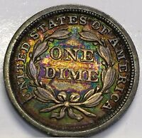 1857 SEATED LIBERTY DIME IN HIGH GRADE WITH SUPER COLORS