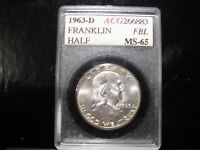 CERTIFIED HIGH GRADE 1963 D FULL BELL LINES FRANKLIN HALF  A