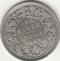 1862 BRITISH INDIA QUEEN VICTORIA  WITH 6 DOTS ONE RUPEE SILVER COIN.CLEANED