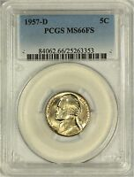 1957 D JEFFERSON NICKEL PCGS MS66 FULL STEPS   ONLY 3 FINER AT PCGS EACH 66