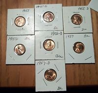 1955  P/D/S 1956 P/D AND 1957 P/D BU LINCOLN CENTS