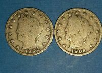 1905 AND 1906 LIBERTY NICKELS   ID 11-26,37