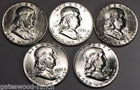 SET OF 5 1961 D FRANKLIN SILVER HALF DOLLARS   BEAUTIFUL BRILLIANT WHITE COINS