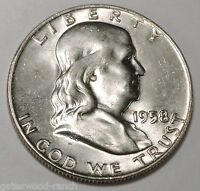 1958 D FRANKLIN SILVER HALF DOLLAR  BRILLIANT WHITE COIN WITH GREAT BELL LINES