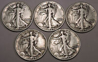 5 1942 D LIBERTY WALKING SILVER HALF DOLLARS    NICE COINS WITH FAIR DETAILS