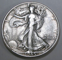 1945 P LIBERTY WALKING SILVER HALF DOLLAR   NICE BRIGHT COIN WITH GOOD DETAILS