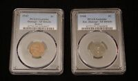 1943 BRONZE AND 1944 STEEL CENTS  OFF METAL LINCOLN PENNIES AUTHENTIC PCGS