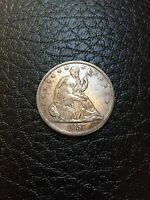 1857 O SEATED LIBERTY HALF DOLLAR   AU   BETTER DATE LOW MINTAGE ORIGINAL COIN