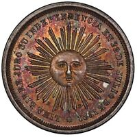 PCGS MS62 MOST EYE APPEALING 1863 PERU 2 REALE AR MEDAL ON PLANET EARTH TONED 2R