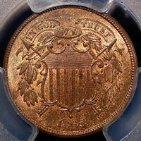 1865 SHIELD TWO CENT  PCGS MINT STATE 65 RB