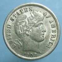 1908 BARBER DIME   LIGHTLY CIRCUALATED WITH LUSTER