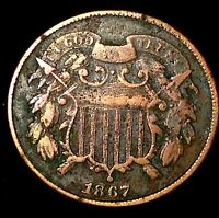 1867 2C COPPERTWO CENT PIECE LLCL