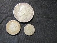 LOT OF 3 NETHERLANDS SILVER COINS   1849 25 CENTS 1856 10 CENTS 1930 1 GULDEN