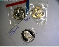 1980 PDS JEFFERSON NICKELS UNC IN MINT CELLO AND PROOF
