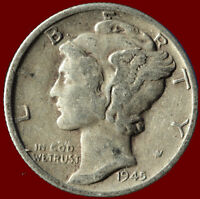 1945 D MERCURY 90 SILVER DIME SHIPS FREE. $2 OFF 5