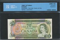 1969 $20 BANK OF CANADA REPLACEMENT NOTE WL 3142467 CCCS UNCIRCULATED BV: $550