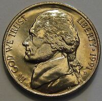 1991 D JEFFERSON 5C  GEM BU  FULL STEPS PROOF QUALITY GEM BRILLIANT UNC