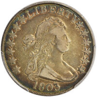 1803 50C LARGE 3 PCGS GENUINE CLEANING - VF DETAILS