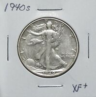 1940S EXTRA FINE  PROBLEM FREE WALKING LIBERTY HALF DOLLAR 6N06HCT