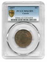 1897 CANADA CENT QUEEN VICTORIA PCGS MINT STATE 62 BROWN CANADIAN CHOICE
