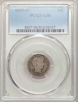 1895 O BARBER DIME PCGS G06 SILVER NICE KEY DATE TYPE COIN GOOD G6 FULL RIMS